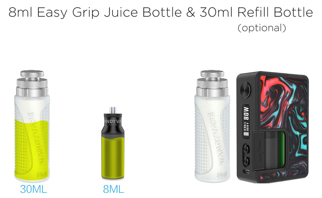 8mL Easy Grip Juice Bottle & 30mL Refill Bottle