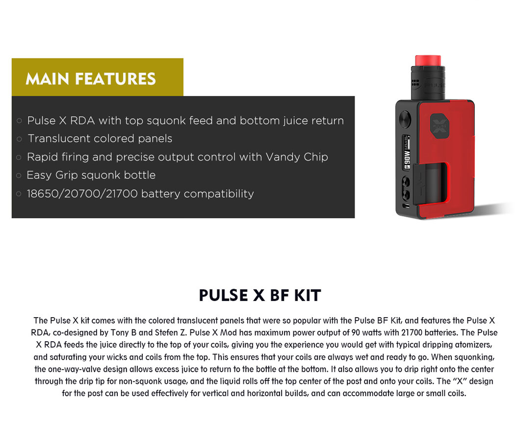 Pulse X BF Kit - Main Features
