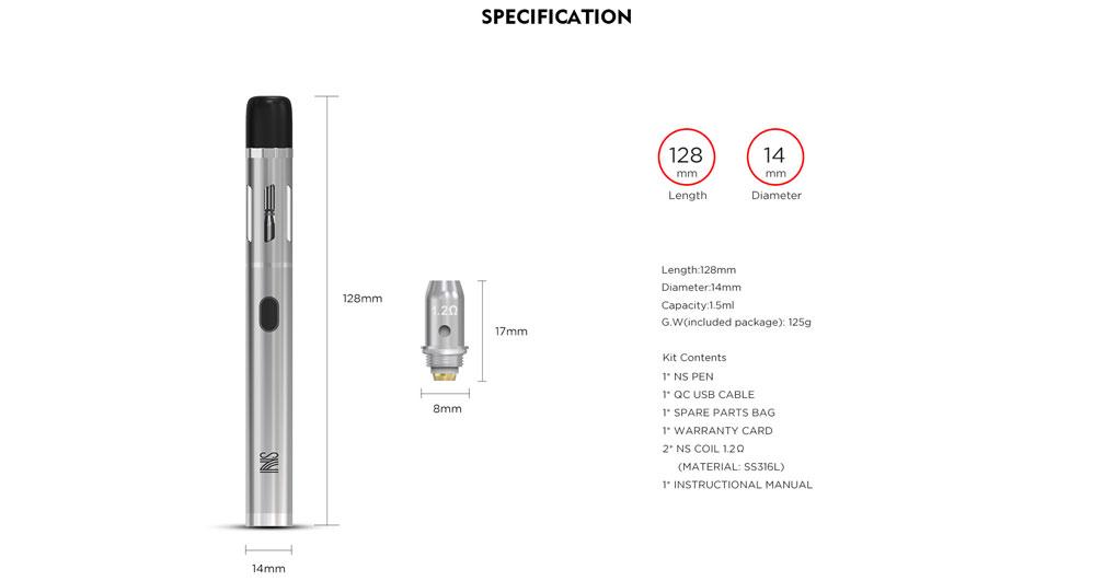 Vandy Vape NS Pen Kit - Specs